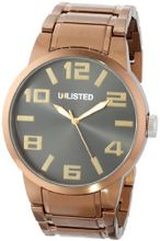UNLISTED WATCHES UL1229 City Streets Brown Ion-Plated Case Bracelet Black Dial Gold Details