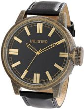 UNLISTED WATCHES UL1233 City Streets Round Antique Brown Black Dial Gold Detail