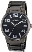 UNLISTED WATCHES UL1234 City Streets Grey Ion-Plated Case Bracelet Black Dial White Details