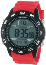 UNLISTED WATCHES UL1238 City Streets Black Case Digital Dial Red Black Strap