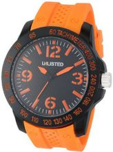 UNLISTED WATCHES UL1241 City Streets Round Black Case Dial Orange Details and Strap