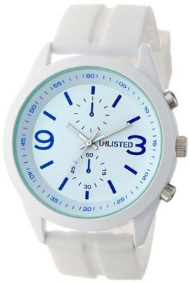 UNLISTED WATCHES UL1252 City Streets Triple White Round Analog Blue Details