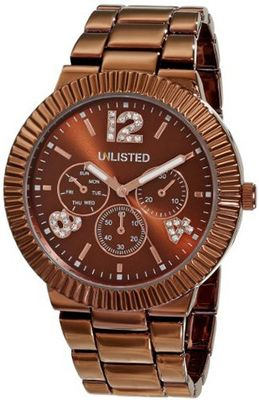 UNLISTED WATCHES UL4025 City Streets Triple Brown Dial Analog Ridged Bezel Link Bracelet