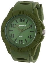 USMC Regimen RW1002 Classic Analog Stencil Dial with Green Case and Green Silicone Strap