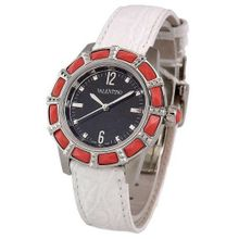 uValentino VALENTINO EDEN Swiss All Stainless Steel & Coral Black Dial Crocodile Strap V54SBQ99709 S009-WH