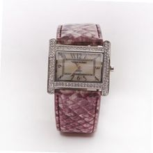 Square Face Pink and White with Diamonds Band Analog