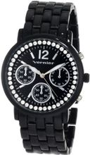Vernier VNR11004 Round Crystal Bezel Chrono-Look Fashion