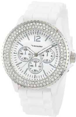 Vernier VNR11042 Round Crystal Rubber Strap Fashion