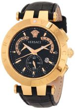 "Versace 23C80D008 S009 ""V-Race"" 18k Rose-Gold Plated Stainless Steel and Black Leather"