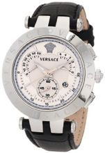 Versace 23C99D002 S009 V-Race Chrono 3 Interchangeable Top Rings Black Genuine Leather Strap