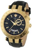 Versace 29G70D009 S009 V-RACE Round Yellow Gold Ion-Plated Stainless Steel GMT Alarm Date