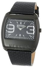 Versus by Versace 3C60700000 Angle Black Ion-Plated Coated Stainless Steel Rectangular Leather