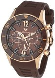 Viceroy 42110-45 Fun Colors 12 Rose Gold Ion-Plated Stainless Steel Luminous Hands Brown Soft Rubber Dual Time Day Date