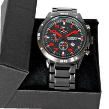 Master Date Red Black Dial Stainless Steel Luxury Sport Quartz Wrist