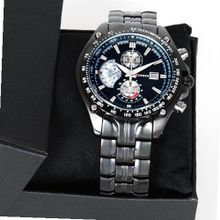Titanium Black Style Steel Quartz Hour Date Clock Wrist Luxury Sport