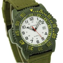 Viliysun-Military Army Green Canvas Quartz Hour Analog Date Dial Sport Wrist