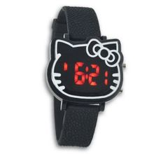 Viliysun New 2014 Fashion Cute Hello Kitty LED Wrist For Woman Lady Girl Children Gift (Black)