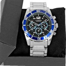 Vogue Blue Bezel Racer Style Luxury Sport Steel Quartz Analog Wrist