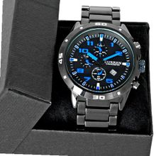 Vogue Date Blue Black Dial Stainless Steel Luxury Sport Quartz Wrist