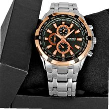 Vogue Rose Gold Black Dial Quartz Luxury Sport Stainless Steel Wrist