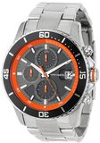 Vince Camuto VC/1017ORG The Cavalier Black Chronograph Dial Orange Accents Silver-Tone