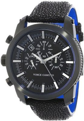 Vince Camuto VC/1030BKTI The Baron Navigator Black Ion-Plated Stingray Leather Strap Chronograph