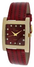 Viva Gold-Tone Sqaure Crystal Marker Red Dial And Red Strap #V2043RD