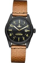 Vivienne Westwood Butlers Wharf Quartz with Black Dial Analogue Display and Brown Leather Strap VV079BKTN