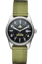 Vivienne Westwood Butlers Wharf Quartz with Black Dial Analogue Display and Green Nylon Strap VV079BKGR