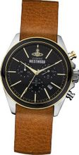 Vivienne Westwood Camden Lock II Quartz with Black Dial Analogue Display and Brown Leather Strap VV069BKBR