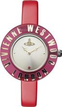 Vivienne Westwood Clarity Bright Quartz with Silver Dial Analogue Display and Red Leather Strap VV032RD