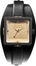 Vivienne Westwood Cube Quartz with Silver Dial Analogue Display and Black Leather Strap VV008BKBK