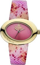 Vivienne Westwood Ellipse II Quartz with Pink Dial Analogue Display and Multicolour Leather Strap VV014PKPK