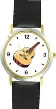 Acoustic or Acoustical Guitar - Musical Instrument Music Theme - WATCHBUDDY® DELUXE TWO-TONE THEME WATCH - Arabic Numbers - Black Leather Strap-Size-Children's Size-Small ( Boy's Size & Girl's Size )