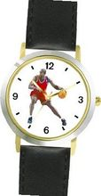 Basketball Player No.1 Basketball Theme - WATCHBUDDY® DELUXE TWO-TONE THEME WATCH - Arabic Numbers - Black Leather Strap-Size-Large ( Size or Jumbo Size )