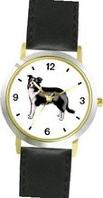 Border Collie Dog - WATCHBUDDY® DELUXE TWO-TONE THEME WATCH - Arabic Numbers - Black Leather Strap- Size-Small