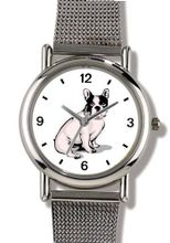 Boston Terrier Dog - WATCHBUDDY® ELITE Chrome-Plated Metal Alloy with Metal Mesh Strap-Size-Small ( Standard Size )