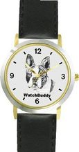 Boston Terrier (SC) Dog - WATCHBUDDY® DESIGNER DELUXE TWO-TONE THEME WATCH - Arabic Numbers-EVENING TWILIGHT STYLE - Gray Dial with Black Leather Strap-Size-Large ( Size or Jumbo Size )
