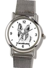 Boston Terrier (SC) Dog - WATCHBUDDY® ELITE Chrome-Plated Metal Alloy with Metal Mesh Strap-Size-Small ( Standard Size )