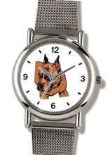 Boxer No.2 Dog - WATCHBUDDY® ELITE Chrome-Plated Metal Alloy with Metal Mesh Strap-Size-Small ( Standard Size )