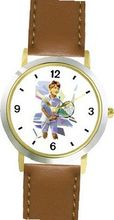 Boy Tennis Player (Pastels) Tennis Theme - WATCHBUDDY® DELUXE TWO-TONE THEME WATCH - Arabic Numbers - Brown Leather Strap-Children's Size-Small ( Boy's Size & Girl's Size )