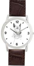 BULL TERRIER DOG (MS) - WATCHBUDDY® DELUXE SILVER TONE WATCH - Brown Strap - Small Size (Standard Size)