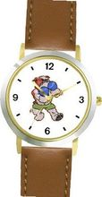Bulldog Boxing or Fighting Cartoon Dog - WATCHBUDDY® DELUXE TWO-TONE THEME WATCH - Arabic Numbers - Brown Leather Strap-Children's Size-Small ( Boy's Size & Girl's Size )