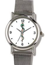 Caduceus or Aesculapius Medical Symbol - WATCHBUDDY® ELITE Chrome-Plated Metal Alloy with Metal Mesh Strap-Size-Large ( Size or Jumbo Size )