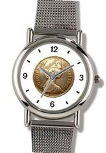 Coin with Queen Elizabeth the 2nd - WATCHBUDDY® ELITE Chrome-Plated Metal Alloy with Metal Mesh Strap - Large Size ( or Jumbo Size)