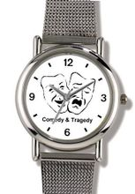 Comedy and Tragedy Masks - WATCHBUDDY® ELITE Chrome-Plated Metal Alloy with Metal Mesh Strap - Large Size ( or Jumbo Size)