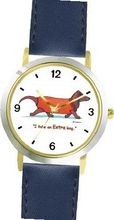 Dachshund (Short-haired) Dog Cartoon or Comic - JP Animal - WATCHBUDDY® DELUXE TWO-TONE THEME WATCH - Arabic Numbers - Blue Leather Strap-Size-Large ( Size or Jumbo Size )