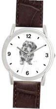 DACHSHUND WH DOG (MS) - WATCHBUDDY® DELUXE SILVER TONE WATCH - Brown Strap - Small Size (Standard Size)
