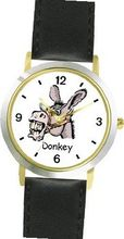 Donkey Head Animal - WATCHBUDDY® DELUXE TWO-TONE THEME WATCH - Arabic Numbers - Black Leather Strap- Size-Small