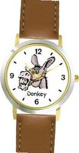 Donkey Head Animal - WATCHBUDDY® DELUXE TWO-TONE THEME WATCH - Arabic Numbers - Brown Leather Strap-Children's Size-Small ( Boy's Size & Girl's Size )